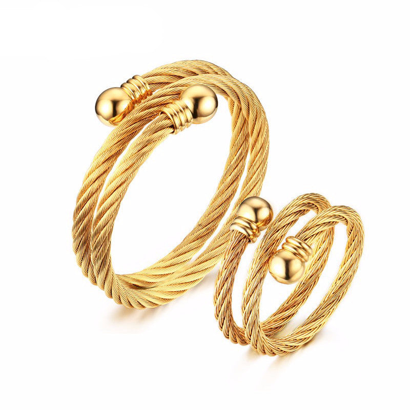 WW Retro Jewelry Set With Greek Key Pattern Adjustable Stainless Steel Twist Shaped Double Cable Cuff Bracelet And Ring For Men Or Women Gold-Color