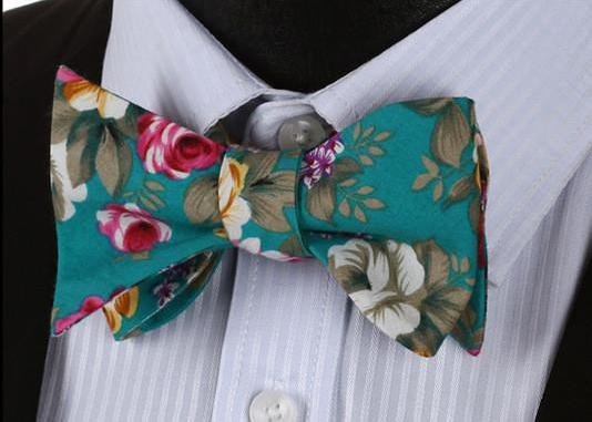 WW Signature Teal Floral Print Men Bow Tie 100%Cotton