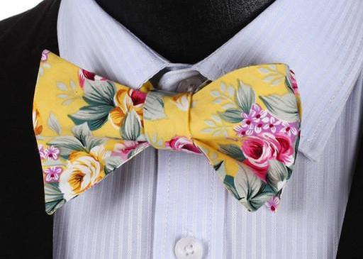 WW Signature Yellow Floral Print Men Bow Tie 100%Cotton