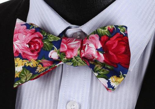 WW Signature Floral Print Men Bow Tie 100%Cotton