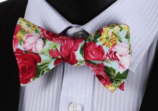 WW Signature Rose Floral Print Men Bow Tie 100%Cotton