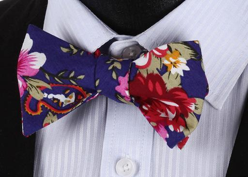 WW Signature Blue Floral Print with multi color accent Men Bow Tie 100%Cotton