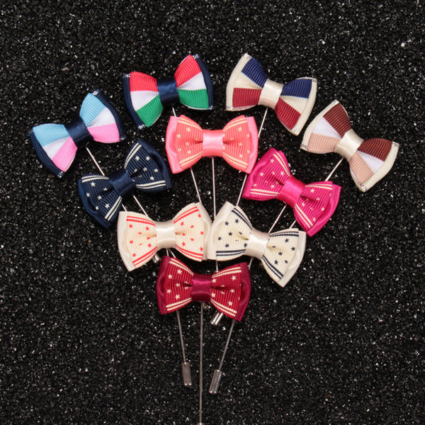 WW Men Bow Tie Lapel Pin 10 Colors Brooches Elegant and Colorful