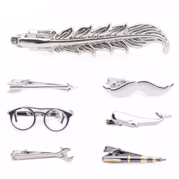 WW Vintage Feather, Arrow, Mustache, Glasses, Whale, Wrench, And Pen Tie Clip For Men