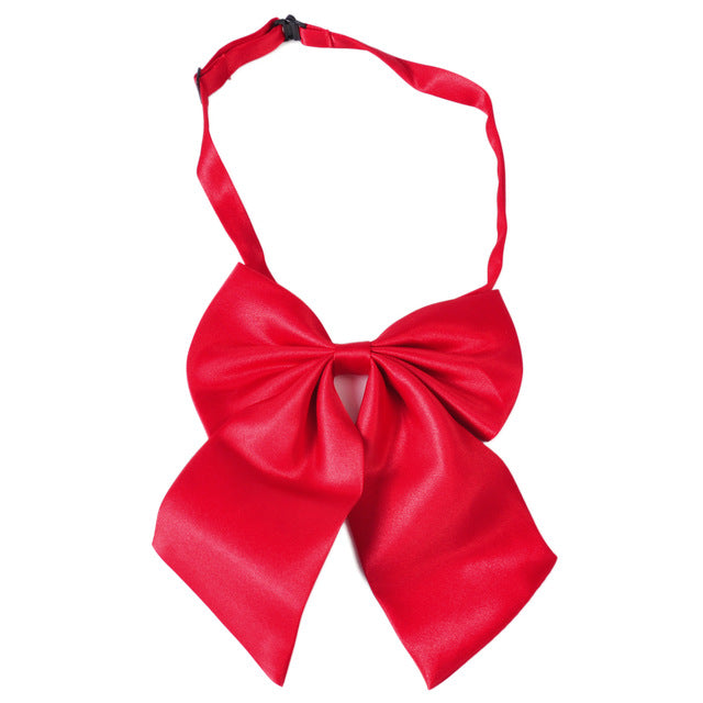 WW Classic Solid Red Adjustable Women Butterfly Bowtie/Neckwear