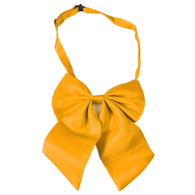 WW Classic Solid Yellow Adjustable Women Butterfly Bowtie/Neckwear