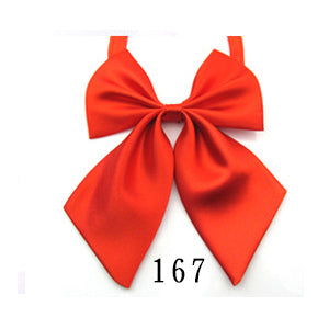 WW Classic Solid Vibrate Orange/Red Adjustable Women Butterfly Bowtie/Neckwear