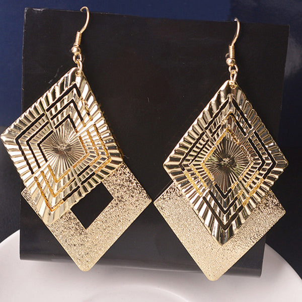 WW Women Drop Long Dangle Earrings Elegant Gold /Silver