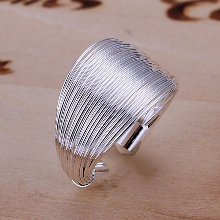 WW Silver Plated Multi Line Fashion Ring For Women