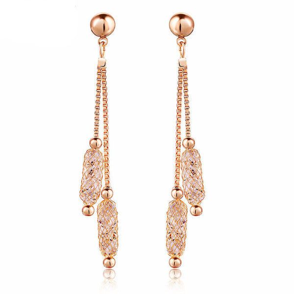 WW Women Luxury Champagne Gold Color Drop Earrings With Wire Zircon Crystal