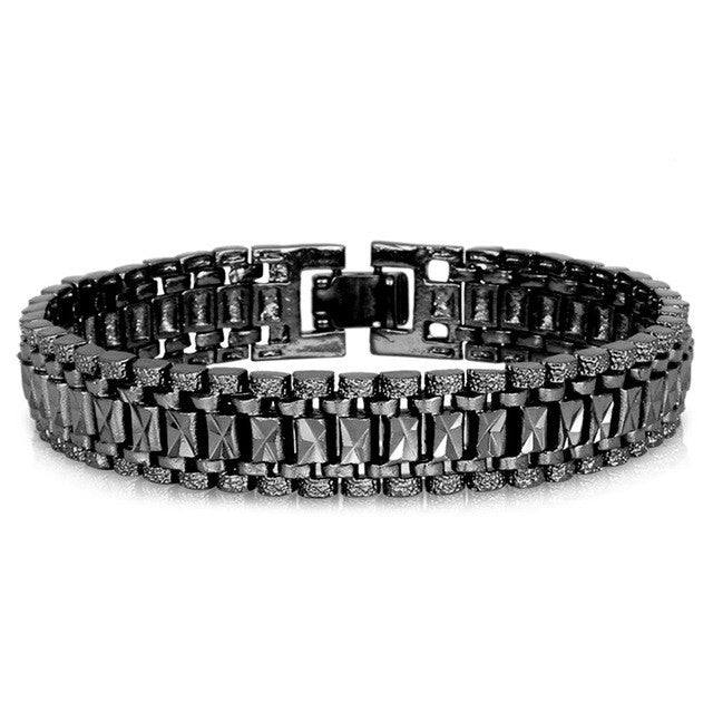 WW Chunky Chain Link Bracelets For Men Style Black Gun/Silver/Gold Color 19cm 12MM