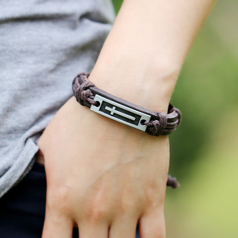 New Design WW Handmade Cross Leather Adjustable Bracelet Wristband Jewelry Unisex