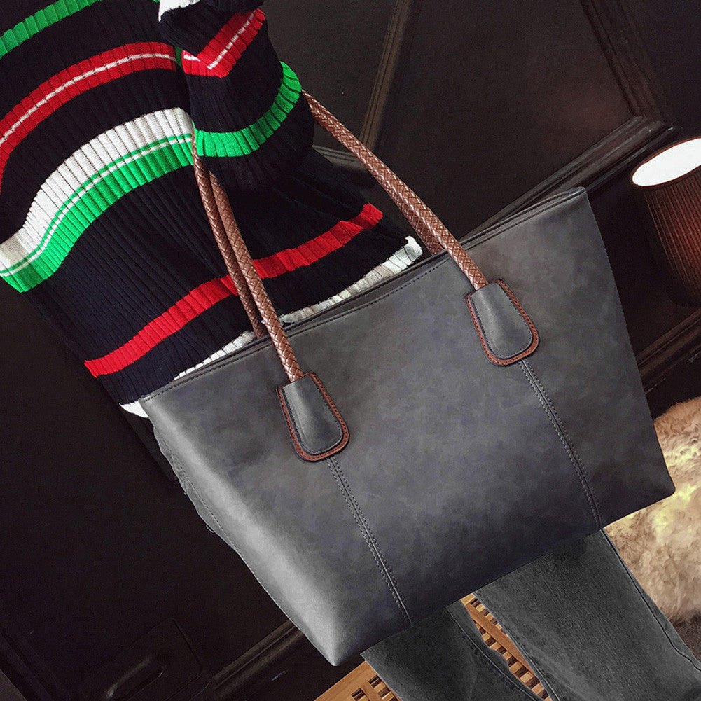 WW New Women Fashion PU Leather Large Capacity Handbag And Tote Classic Style Shoulder Bag Tote