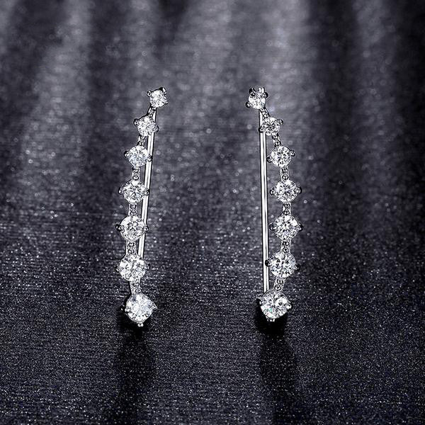 WW Four Prong Setting CZ Crystal White / Rose Gold Color Dipper Hook Stud Earrings