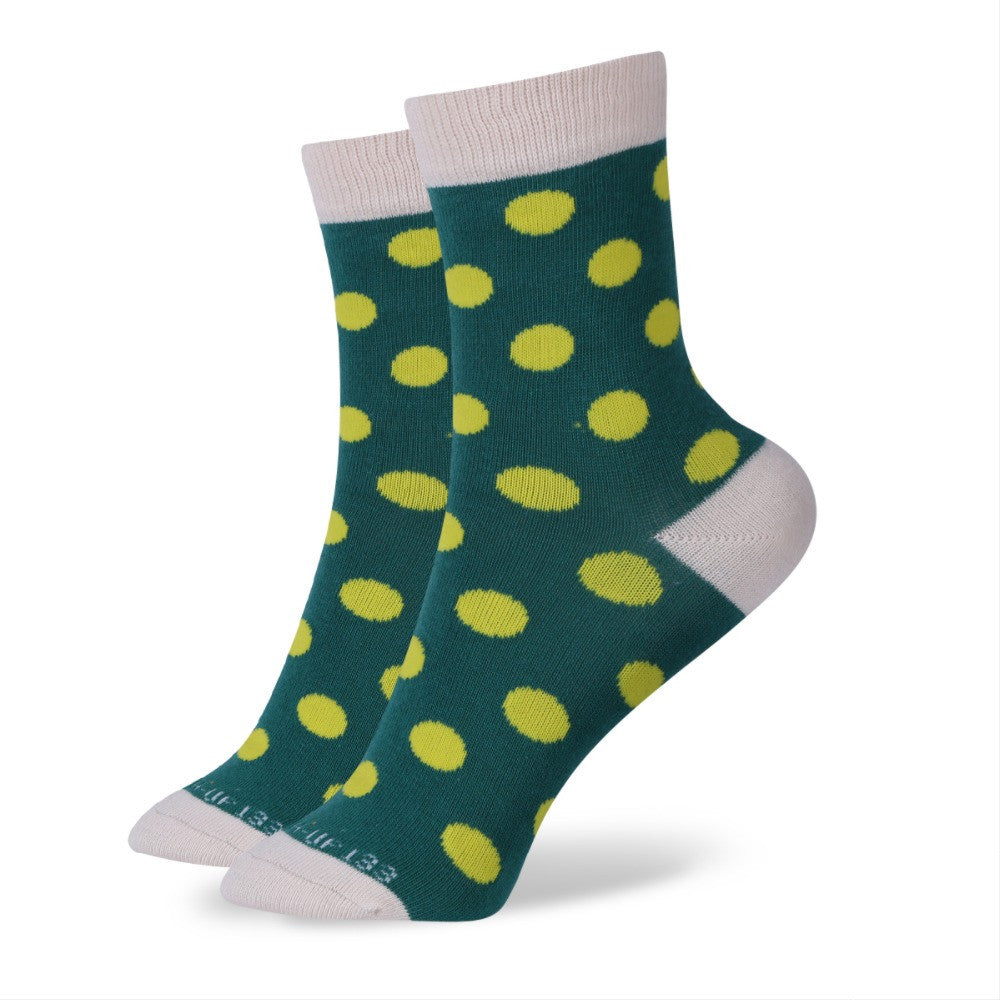 WW Multi Color Polka Dot Cotton Knit Socks For Women