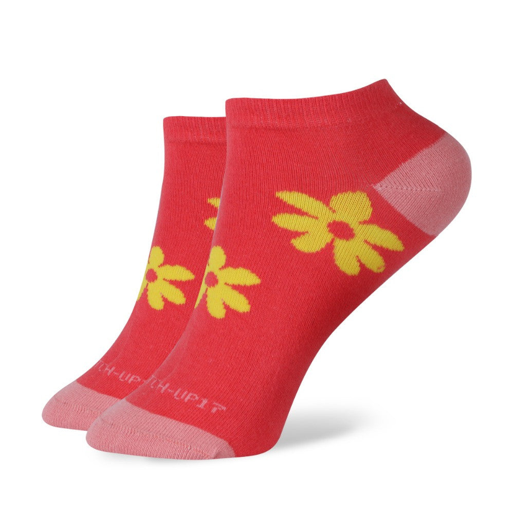 WW Multi Color Daisy Short No Show Ankle Cotton Knit Socks For Women