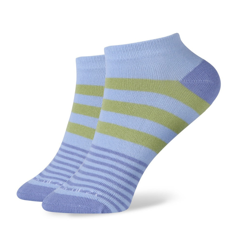 WW Multi Color Stripe Short No Show Ankle Cotton Knit Socks For Women