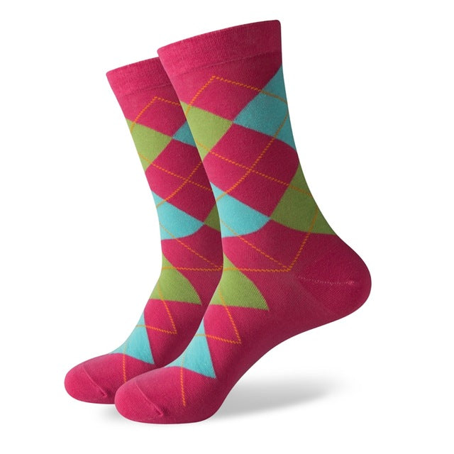 WW Electric Pink, Baby Blue and Lime Green Argyle Cotton Knit Socks For Men US Sizes(7.5-12)