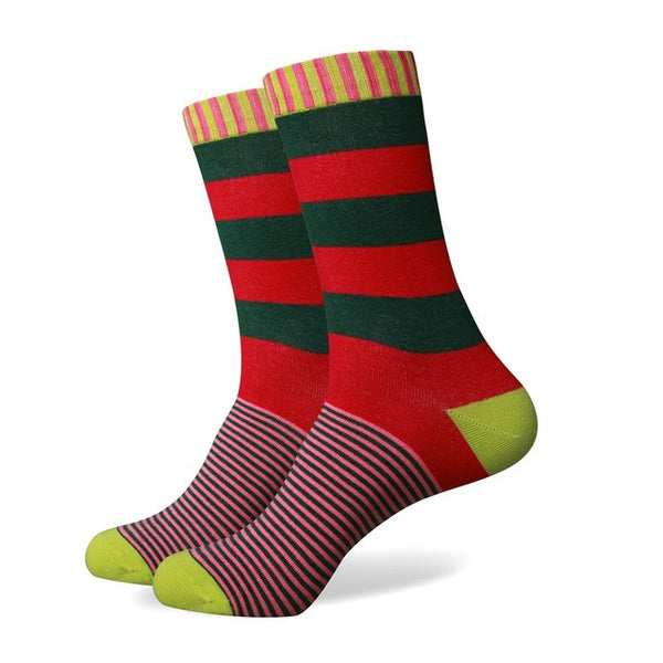 WW Various Stripe Pattern Cotton Knit Socks For Men US Sizes(7.5-12)