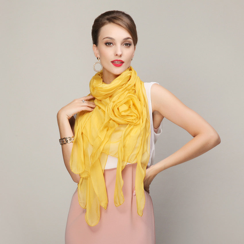 WW Rose Chiffon Silk Scarves New Design Graceful Long Floral Wraps 220*80cm