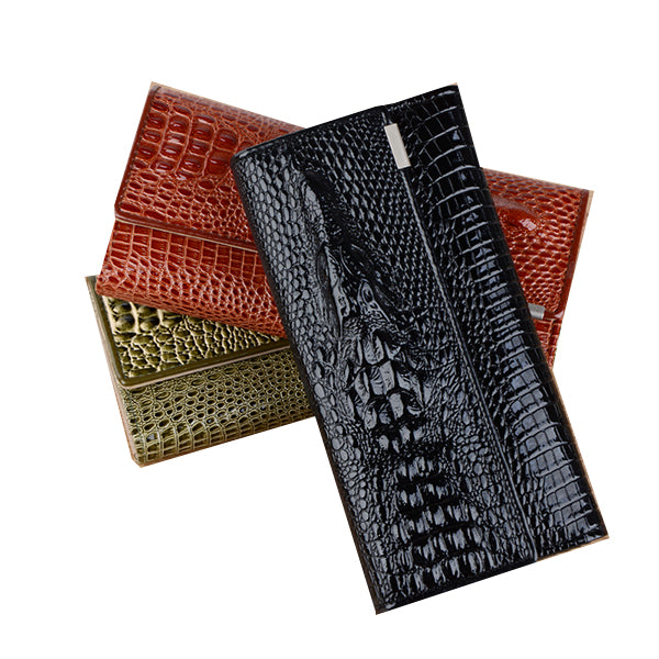 WW Fashion Alligator Women Leather Wallet Long Trifold Designer Purse Women 3D Animal Printed Female Card Holder Lady