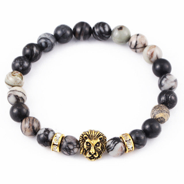 WW Antique Crystal Gold And Silver Plated Buddha Leopard Head Bracelet Charm Bracelets For Men and Women