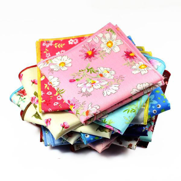 WW Men Various Flower Print Pocket Squares / Handkerchiefs
