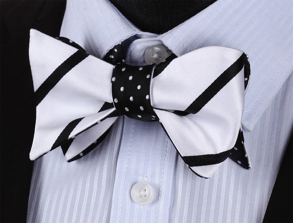 WW Double Sided Black White Stripe and Black with White Polka Dot Men Self Tie Bowtie