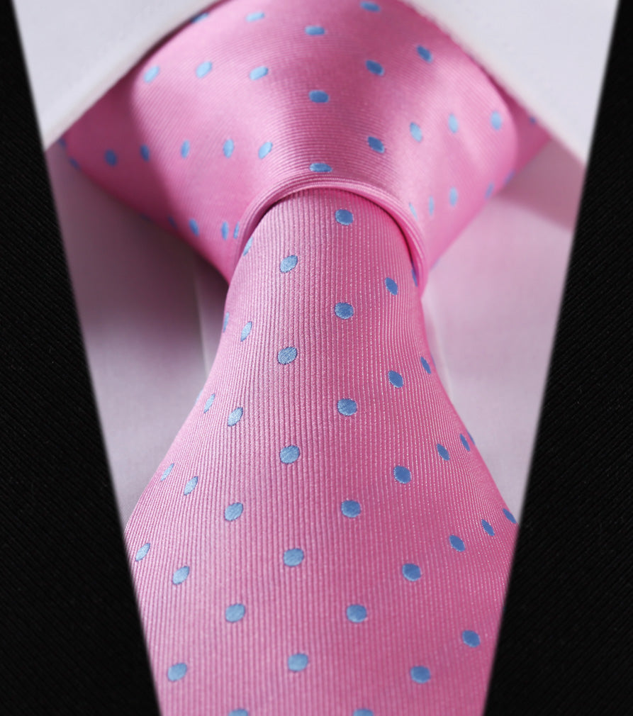 "WW Signature Pink with Light Blue Polka Dot 3.4"" Silk Woven Men Necktie"