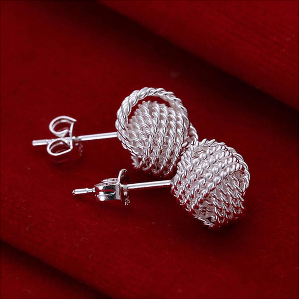 WW Silver Color Ball Stud  Design Earrings For Women