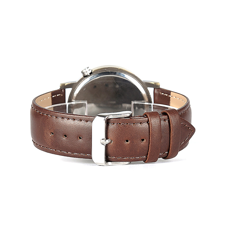 WW Brown Leather Band Watch with Wooden Accented Black Dial