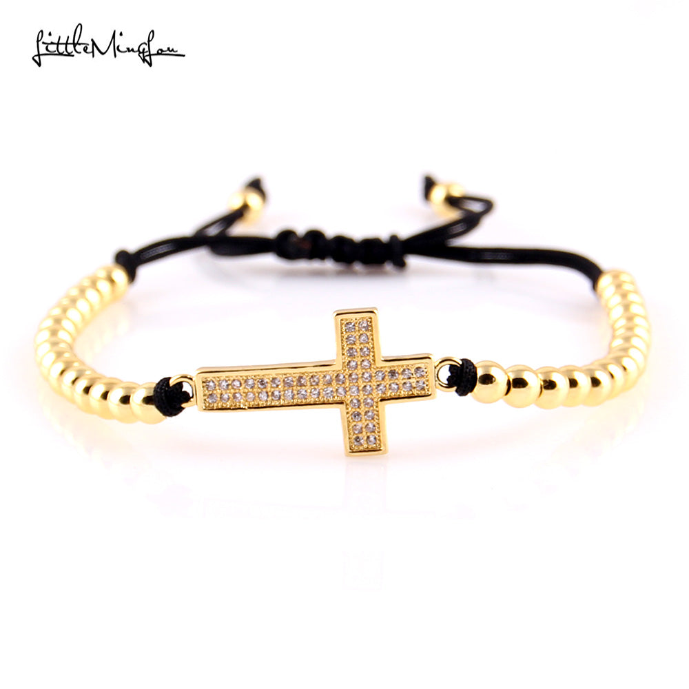 Little MingLou Trendy Men bead Bracelet Micro Pave CZ cross Charm copper Braided Jesus bracelets & bangles for women Jewelry