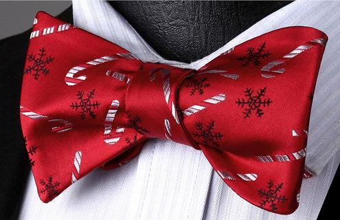Christmas Gift 100% Silk Self Tie Christmas Woven Men Classic Butterfly BowTie