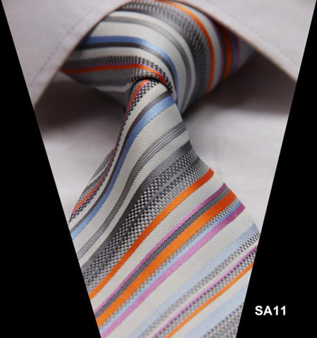 WW Signature Multi Colored StripedvSilk Woven Men Necktie