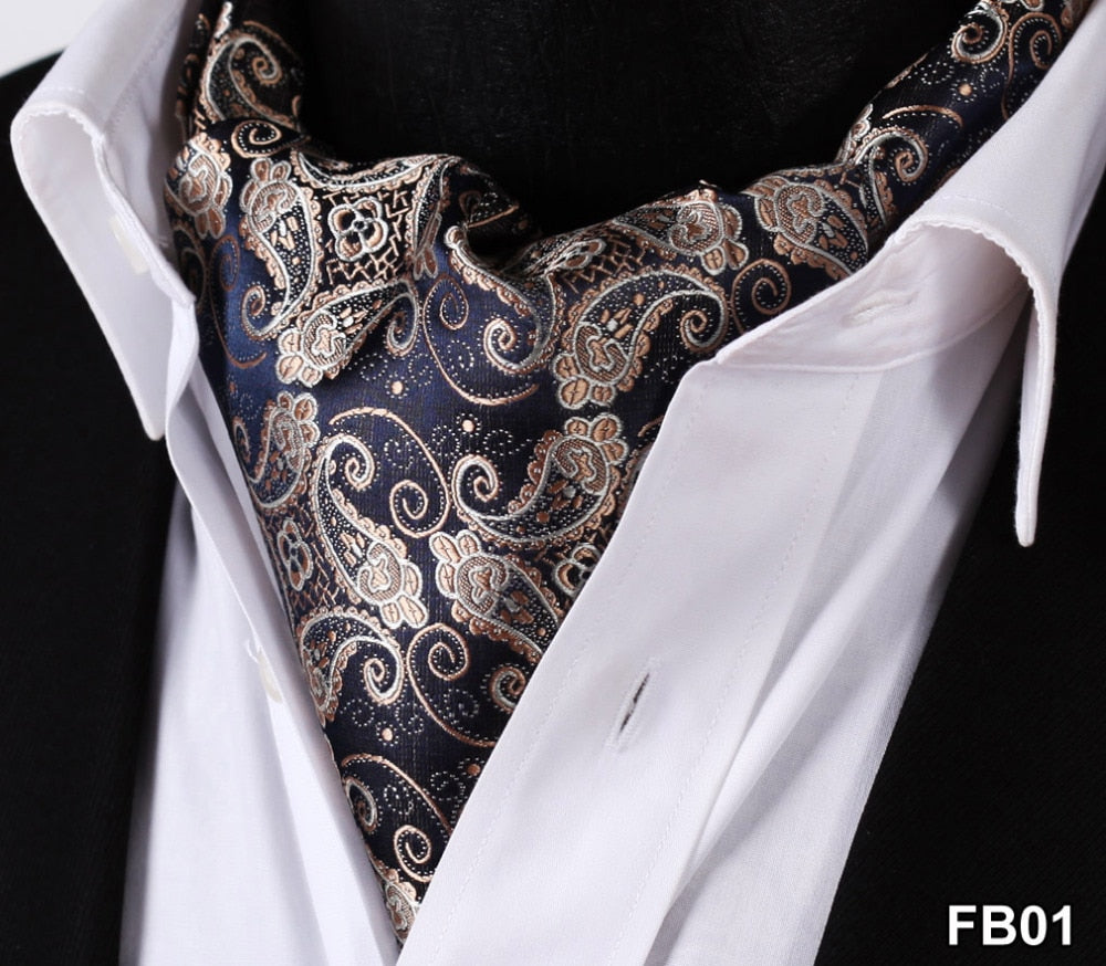 Paisley Floral 100%Silk Ascot Cravat, Casual Jacquard Scarves Ties Woven Party Ascot FB