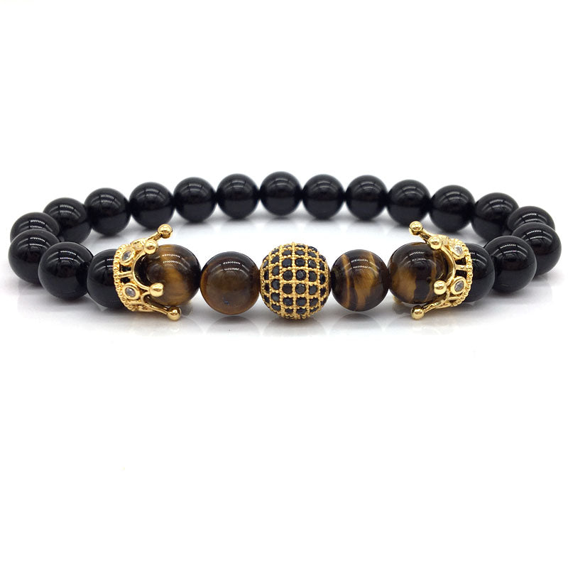 WW Men Bracelet Pave CZ 10MM Ball Stone Beads Crown  Beaded Bracelet For Men & Women
