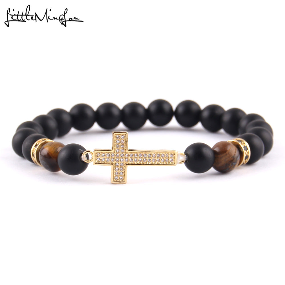 WW Men Bead Bracelet with cross charm & bangles for men jewelry