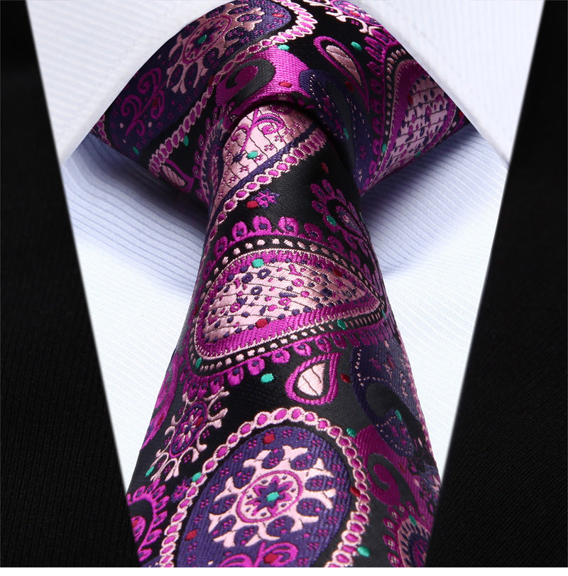 "WW Signature Multi Colored Pink, Black and Purple and Paisley 3.4"" Silk Woven Men Necktie"