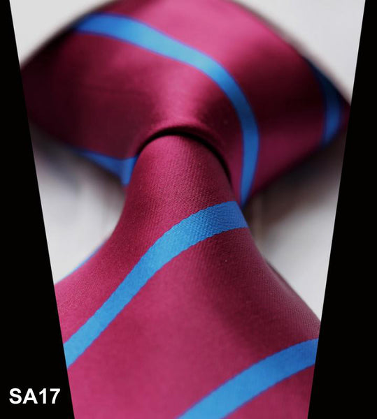 WW Signature Wine with Electric Blue Stripe Silk Woven Men Necktie