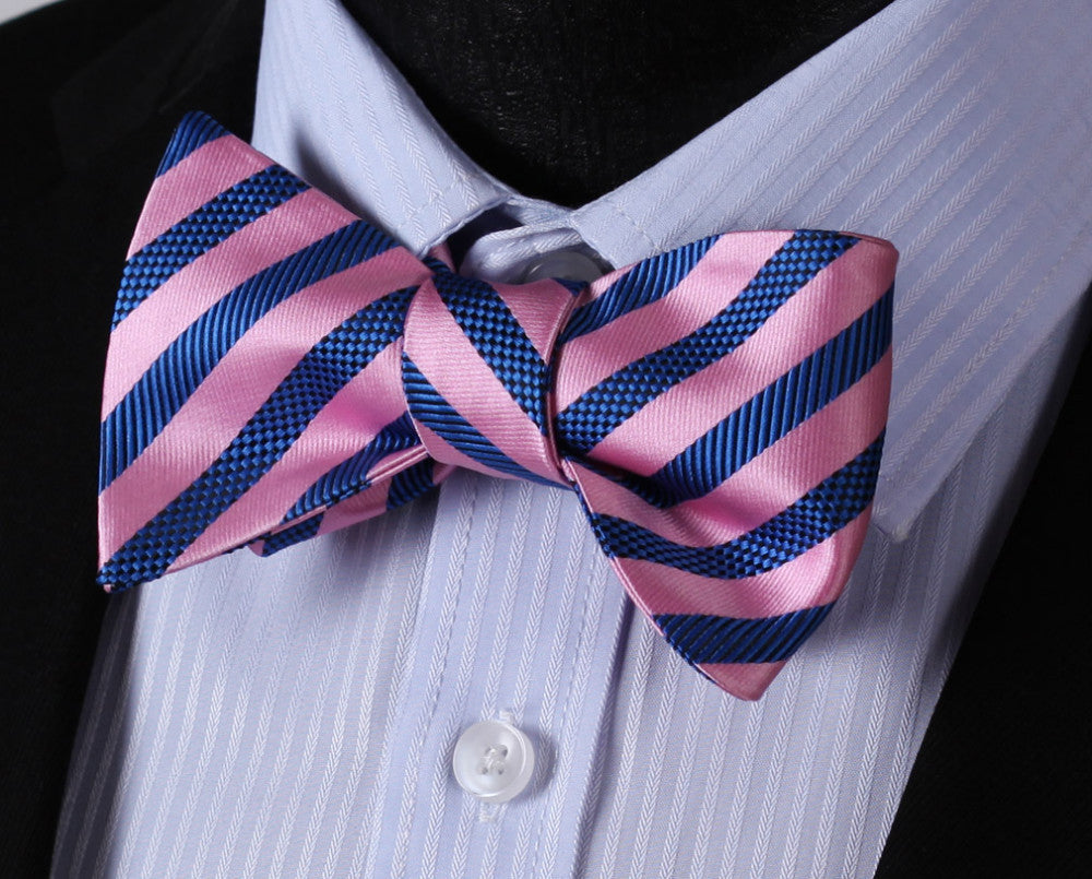WW Signature Pink and Blue Striped Silk Woven Men Self Tie Bowtie