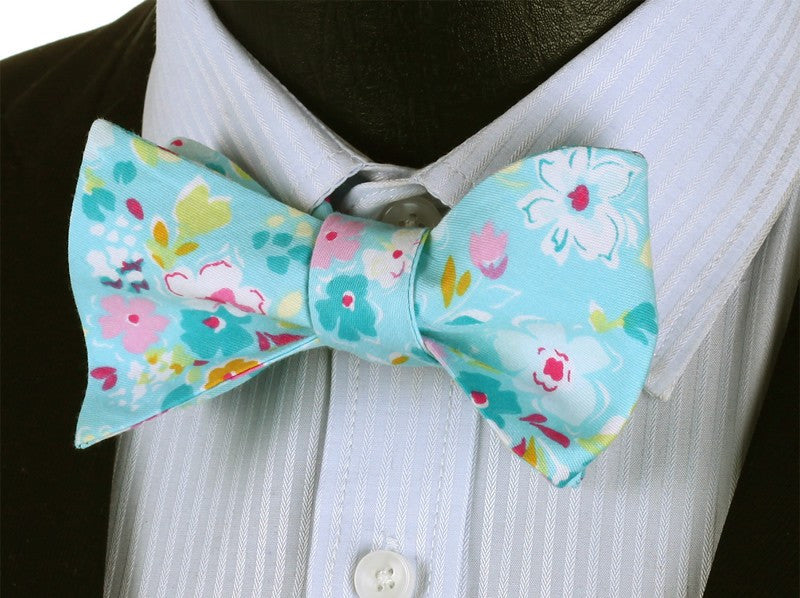 WW Classic Print Blue Pink Floral Men Bow Tie 100%Cotton Self Tie