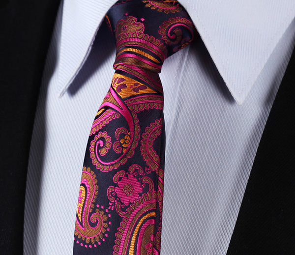 "WW Signature Hot Pink, Blue and Orange Paisley 3.4"" Silk Woven Men Necktie"