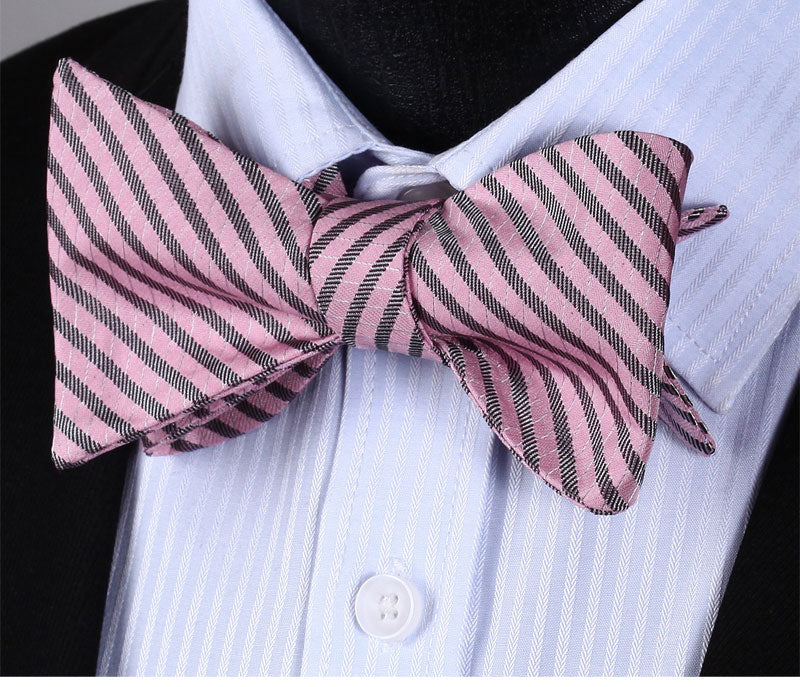 WW Signature Pink and Gray Stripe Silk Woven Men Self Tie Bowtie