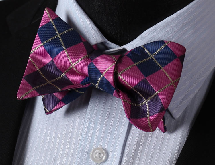 WW Signature Pink, Blue and Purple Checkered / Argyle Print Silk Woven Men Self Tie BowTie