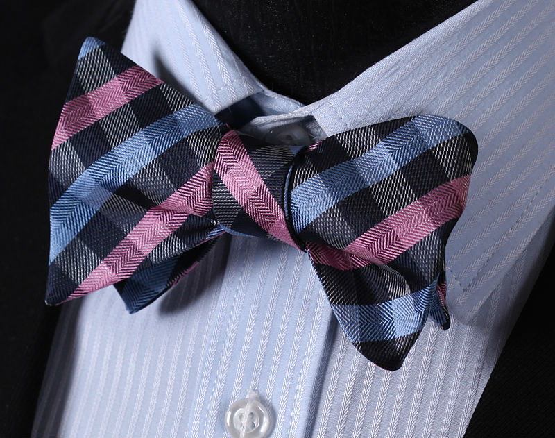 WW Signature Pink and Blue Checkered Silk Woven Men Self Tie BowTie