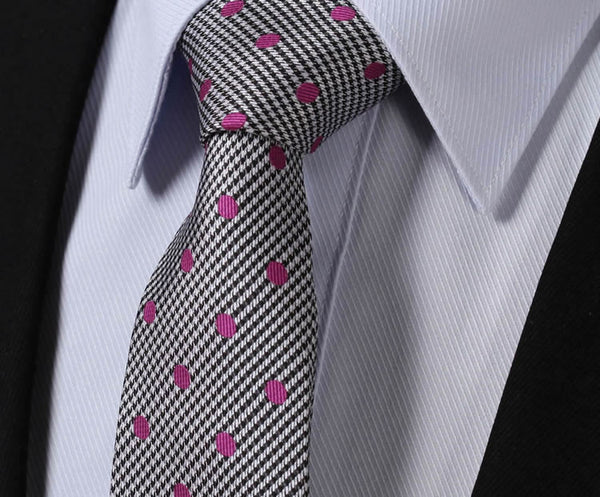 "WW Signature Gray with Pink Polka Dot 3.4"" Silk Woven Men Necktie"
