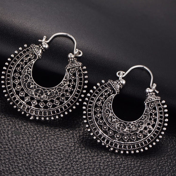 WW Hollow Out Double Sides Tibetan Silver Color Hoop Fashion Vintage Earrings