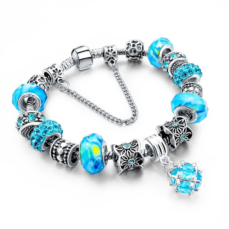 WW European Style Authentic Tibetan Silver Blue Crystal Charm Bracelet for Women