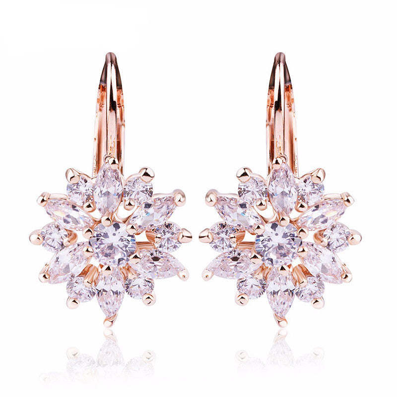 WW Women Luxury Champagne Flower Stud Earrings with Zircon Stone