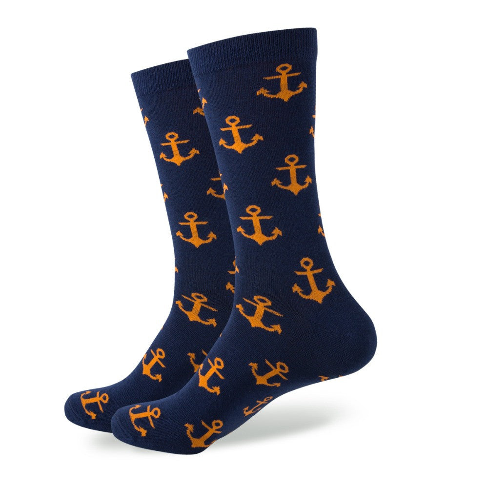 WW Colorful Anchor Cotton Knit Socks For Men US Sizes(7.5-12)